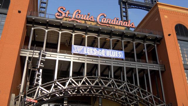Famous landmark in St. Louis - Bush stadium for the Cardinals - ST. LOUIS, USA - JUNE 19, 2019