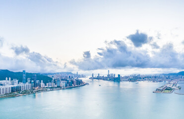 Wall Mural - Aerial view of Victoria Harbour, from the east side, Hong Kong, daytime