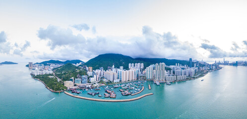 Wall Mural - Aerial view of Shau Kei Wan, East side of Hong Kong, daytime