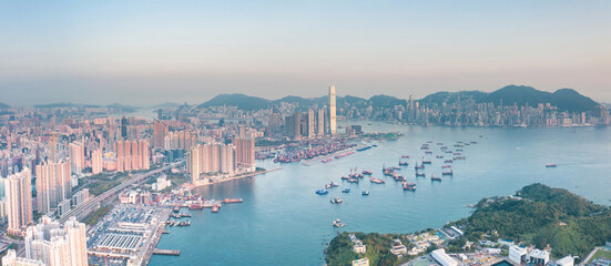 Wall Mural - Aerial view of Victoria Harbour, from the west side, Hong Kong, daytime