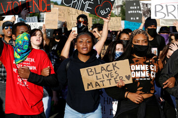 Protesters rally against the death in Minneapolis police custody of George Floyd, in Portland