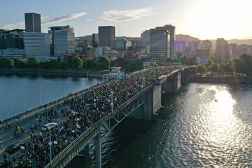 Protesters cross Morrison Bridge while rallying against the death in Minneapolis police custody of George Floyd, in Portland