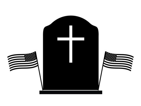 Memorial Day Tombstone with Two US Flags. Black and white pictogram depicting tombstone with two American Flags beside. Vecor File