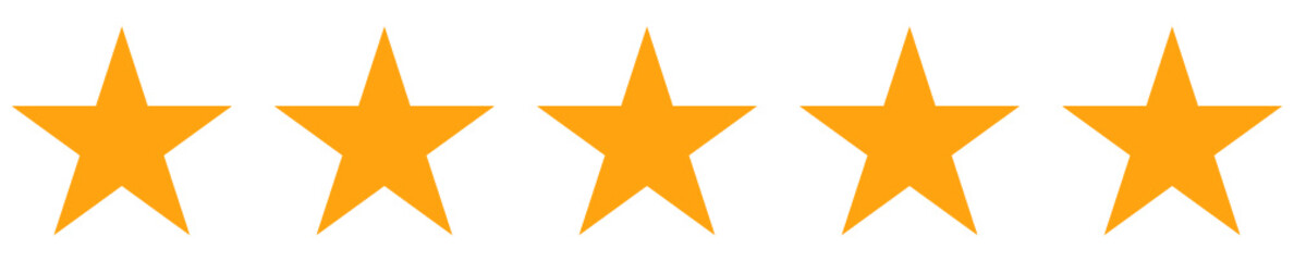 five stars rating in yellow