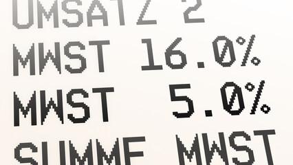 ngb9 NewGraphicBanner ngb - german: Mehrwertsteuer, Kaufbeleg, Kassenbon, Mehrwertsteuersatz von 19 Prozent auf 16 % und von 7 Prozent auf 5 %. - Quittung - financial / invoice - deutsch 16zu9 g9716 Fotomurales