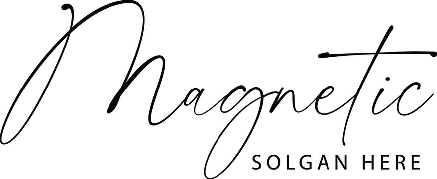 A hand-drawn signature logo design template