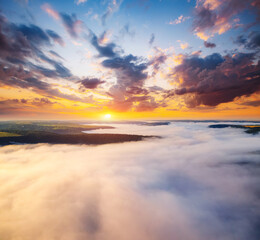 Wall Mural - Incredible top view on rural landscape at dawn. Location place Dniestr canyon, Ukraine, Europe.