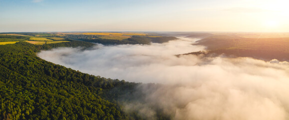 壁紙(ウォールミューラル) - Incredible top view on rural landscape at dawn. Location place Dniestr canyon, Ukraine, Europe.