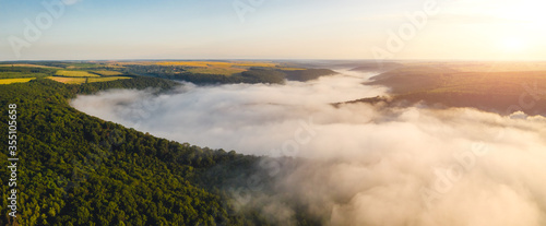 Wall mural Incredible top view on rural landscape at dawn. Location place Dniestr canyon, Ukraine, Europe.