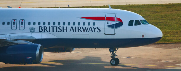 Front part of an aircraft of the English airline British Airways at Hannover, Germany, February 8., 2020