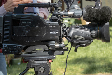 Professional video cameras from japanese company Sony at a local television station, including audio system with directional microphone, used in Hannover, Germany, May 12., 2019
