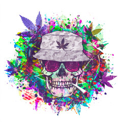 rastafari skull illustration with cannabis