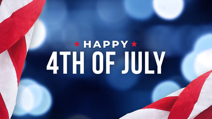 Happy 4th of July Text Over Blue Bokeh Lights Texture Background and Patriotic American Flags for...