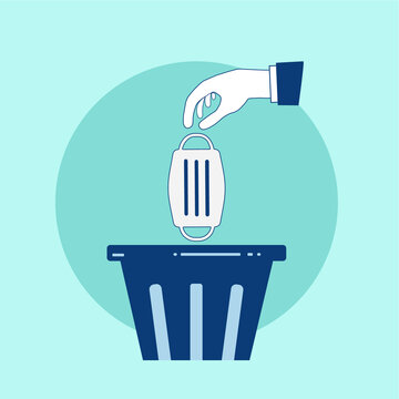 Throwing a dirty mask in the bin. Flat design with hand, mask and recycle bin icon