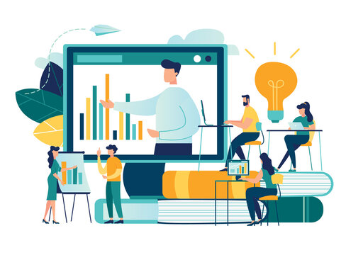 Vector flat illustration, online training courses for employees, training skills enhancement, people sit at a conference and look at the big screen, the analysis of infographics