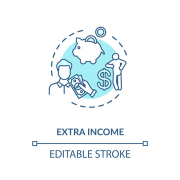 Extra income turquoise concept icon. Investment to make additional earning. Successful marketing idea thin line illustration. Vector isolated outline RGB color drawing. Editable stroke