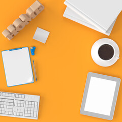 Work from home concept, product mockup with office supplies coffee