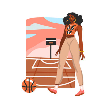 Hand drawn vector flat abstract stock graphic illustration with young happy black afro american beauty female plays basketball on the street basketball court, isolated on white background
