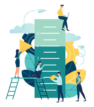 Business concept vector illustration, small people measure how many have reached the goal, the goal has reached the level