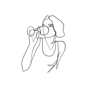 Girl drinks wine or champagne from a glass. Linear silhouette of a woman with a glass goblet. Drawing in one continuous line. Linear glamour logo in minimal for  wine label.