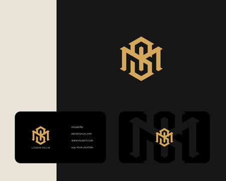 Letter M S logo design with business card vector template. creative minimal monochrome monogram symbol. Premium business logotype. Graphic alphabet symbol for corporate identity