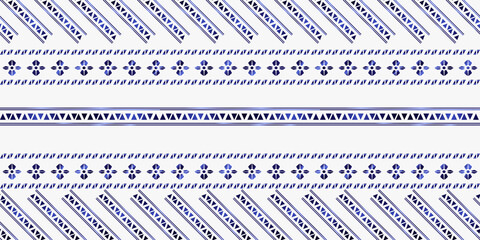 Foto auf AluDibond Boho-Stil trendy stripes pattern Vector blue line hand drawn seamless