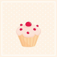 Sweet vector cupcake on white polka dots pink background