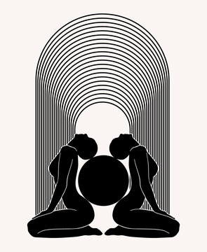 Vector hand drawn illustration of sitting girls with ball isolated. Tattoo artwork. Template for card, poster, banner, print for t-shirt, pin, badge, patch.