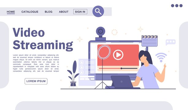 Live streaming, broadcast concept. Video podcast blogging landing page.