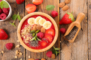smoothie bowl with fresh fruit, chia and granola