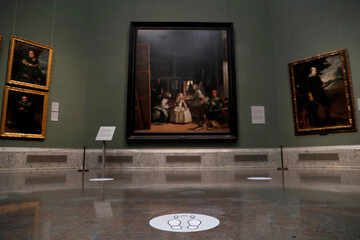 Social distance markers are seen next to Spanish artist Velazquez's painting 'Las Meninas' as the Prado museum prepares for reopening on June 6th amid the coronavirus disease (COVID-19) outbreak, in Madrid