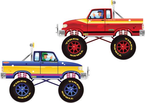 Monster trucks and driver