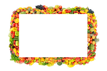 Wall Mural - Beautiful frame fruits, vegetables, berries isolated on white