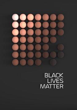 Conceptual image of diversity, racism, discrimination, 3d rendered spheres representing different skin tones, Black lives matter slogen