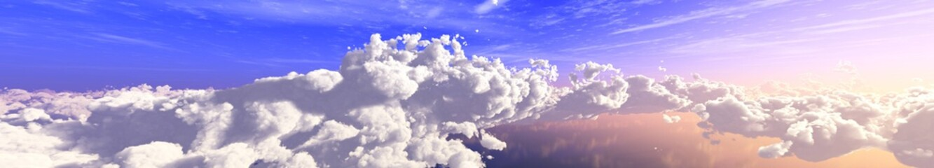 The sky with clouds panorama, the sun among the clouds, cloudy landscape, 3D rendering
