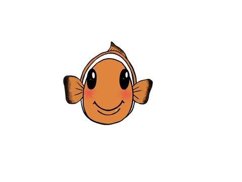 Hand Drawn Cute Clown Fish - Smile
