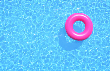 Clear water in swimming pool with pink swimming ring. Top view, 3d illustration