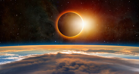 Fotomurales - Solar Eclipse with international space station ISS
