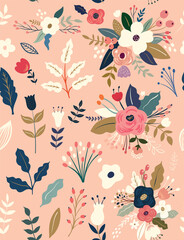 Fototapete - Beautiful flower seamless pattern with roses, leaves, flower compositions.