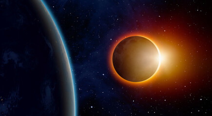 Wall Mural - Solar Eclipse with international space station ISS