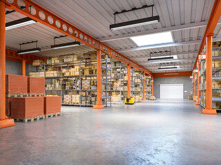 Wall Mural - industrial warehouse interior 3d illustration