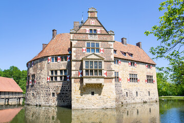 The medieval Vischering Castle in Lüdinghausen, Westphalia, Germany, 05-28-2020
