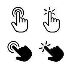 Hand click icon set. Vector graphic illustration. Suitable for website design, logo, app, template, and ui. EPS 10.