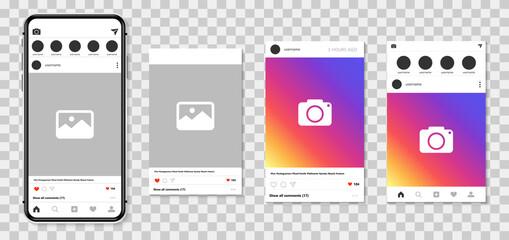 Smartphone mock up. Social network ads template. Social media app with frames mock up. Vector