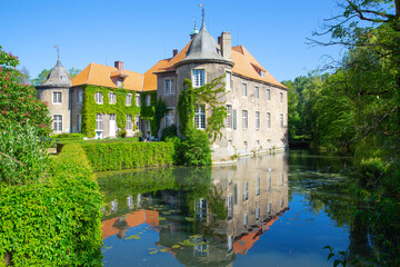 The historic Itlingen Castle near Ascheberg in Westphalia, Germany, 05-28-2020
