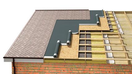Obraz Detailed shingle roof installing in process, 3d illustration - fototapety do salonu