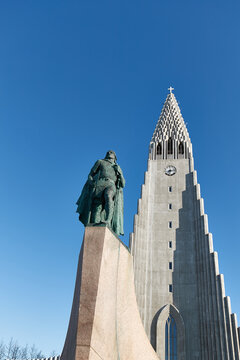 REYKJAVIK, ICELAND - Circa 2018: Statue of Leif Erikson standing in front of Cathedral Hallgrimskirkja in Reykjavik Iceland. Norse explorer from Iceland, first European to get to North America