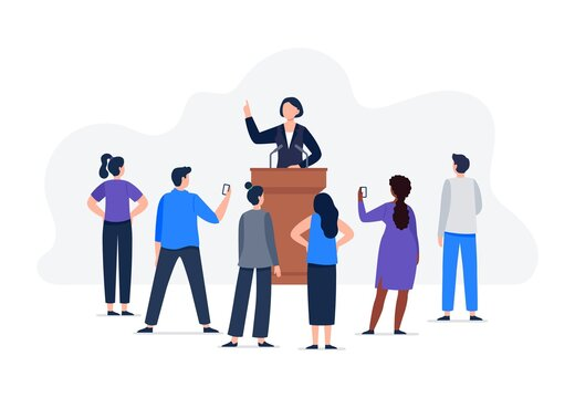 A woman speaker and a group of people listen to a speech. A speech from tribune with microphones. Female political character and electorate. Vector flat concept illustration.
