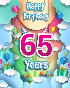 65th Years Birthday Design for greeting cards and poster, with clouds and gift box, balloons. design template for anniversary celebration.
