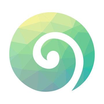 Stylized Maori symbol, colorful spiral shape based on silver fern frond.